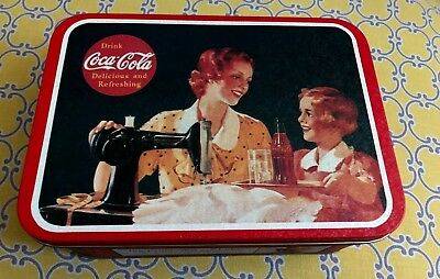 COCA-COLA/Coke Collectible Tin - Rectangle Shape - Women Sewing w/ daughter 1994