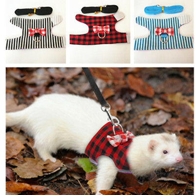 Small Animal Harness Leash Guinea Pig Ferret Hamster Rabbit Squirrel Clothes S M