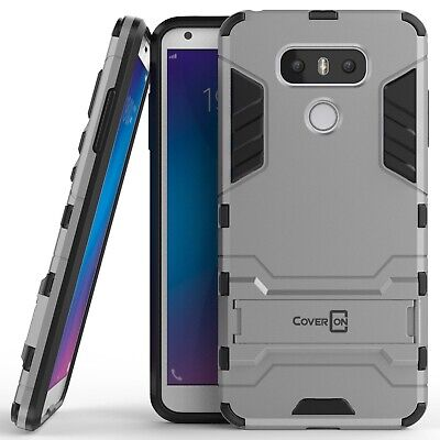 For LG G6 / G6 Plus Hard Case Silver / Black Kickstand Protective Phone Cover