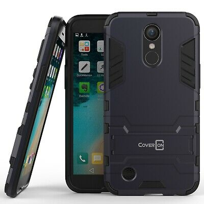 For LG K20 Plus / K20 V / K20V Hard Case Navy Kickstand Protective Phone Cover