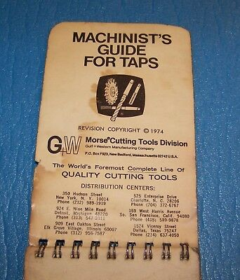 Morse Machinist's Guide for Taps Pocket Manual Handbook Vintage Classic 1974
