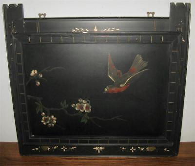 19C Victorian EASTLAKE Black Lacquer WALL POCKET 17x16 BIRD & BLOSSOMS Aesthetic