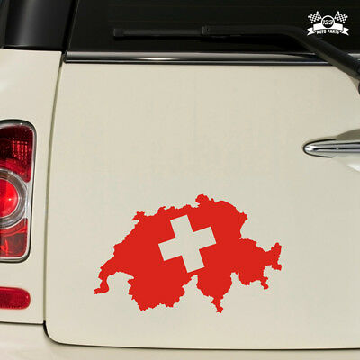 Switzerland Swiss Map Flag Car Sticker Red Vinyl Decal choose size 4'' 5'' 6
