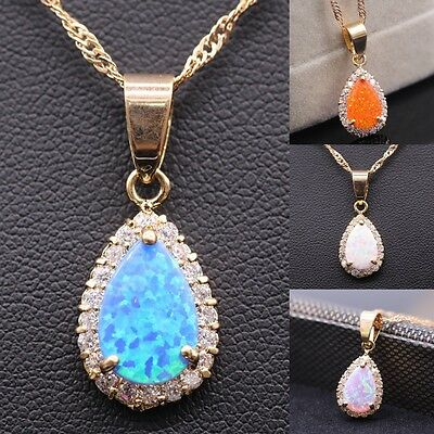 Opal Drop-White 18K Rose Gold Plated Pendant Necklace 4 Colors