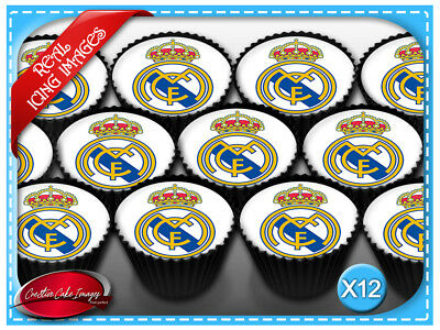 12 Real Madrid Soccer Edible Icing Image Cupcake Topper Birthday Decorations