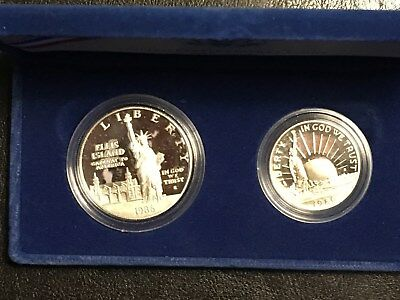 1886-1986 United States Silver Liberty 1 Dollar & 1/2 Dollar Proof Coins set