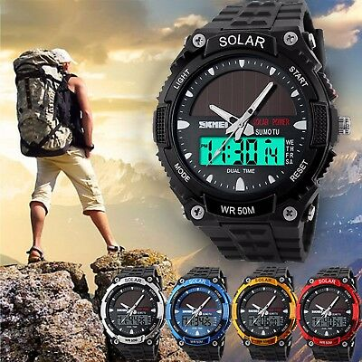 SKMEI Men Solar Power Sport Dual Time LED Digital Waterproof Analog Quartz Watch