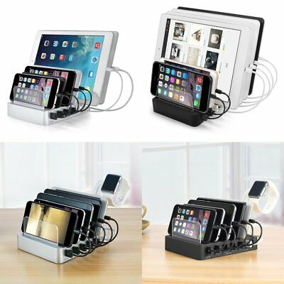 6 Multi Port USB Hub Charger Charging Dock Station Stand 60W 12A Tablet&Phone TG
