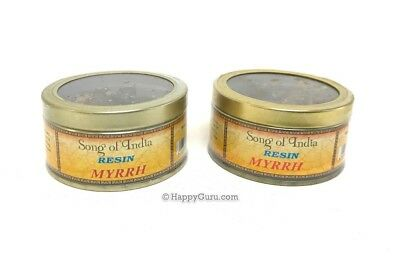 """Myrrh"" 2x60gm (2 Tins) Natural Incense Resin (Song Of India Brand) 120 grams"