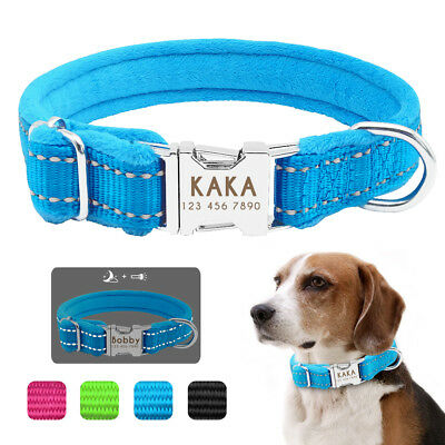 Nylon Reflective Personalized Dog Collars Plush Padded Puppy Dog ID Collar Tags