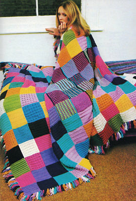 Motif Knitting Pattern copy Blanket Rug Throw Granny Squares 4 Ply