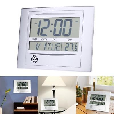 Modern Self Setting LCD Digital Wall Clock Temperature For Home Office Decor UK