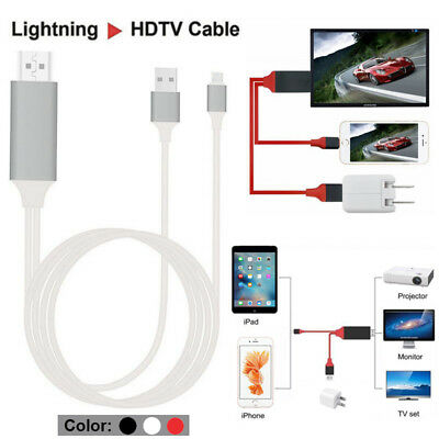 For iPad&iPhone X 6 7 8 Plus Lightning to HDMI Cable HDTV TV AV Adapter 2M Long