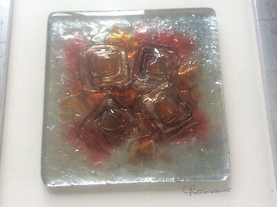 Christine Romano Signed Kiln Formed Art Glass Wall Plaque Picture HOT ANGLES