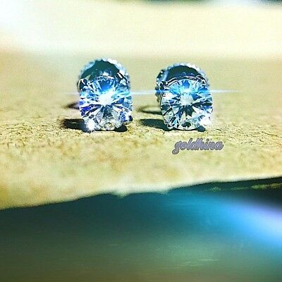 Real Moissanite Wedding Earrings Stud Genuine Solid Gold and 925 Sterling Silver