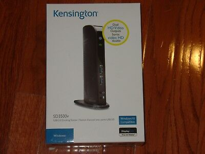 NEW KENSINGTON SD3500v USB 3.0 LAPTOP DOCKING STATION w/ DUAL HD HDMI DVI/VGA