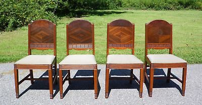 Set of 4 Antique Burl Walnut Art Deco Dining Chairs 1930's