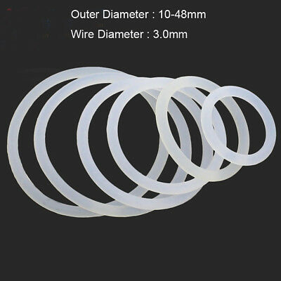Silicone Rubber Seals Washer Food Grade O Ring White 10mm-48mm OD 3mm Wire Dia.