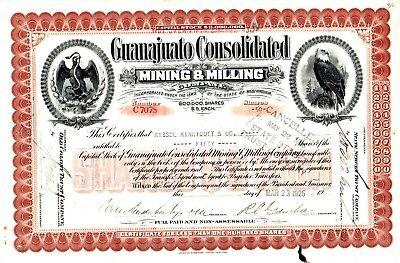 Guanajuato Consolidated Mining & Milling of West Virginia 1925 Stock Certificate