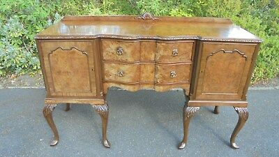 Antique Burr Walnut Sideboard Server Dresser