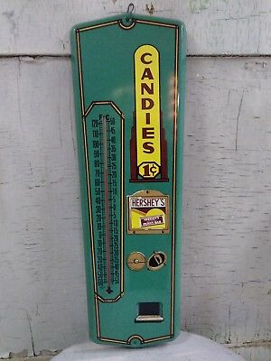 Rare! Large Vintage Hershey's Chocolate 1¢ Tin Wall Advertising Thermometer