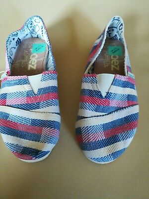 Girls Paez Blue, Red and Cream Pattern Fabric Espadriles Shoes UK size 11 1/2