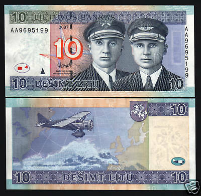 Lithuania 10 Litu P68 2007 Replacement *az Euro Aviator Plane Horse Unc Currency