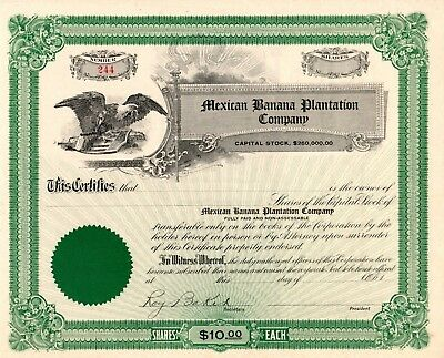 Mexican Banana Plantation Company (Mexico)  about 1900 Stock Certificate