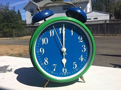 Vintage Green And Blue West Germany BLESSING Windup Alarm Clock