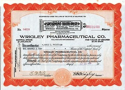 Wrigley Pharmaceutical Company (Spearmint Toothpaste) 1925 Stock Certificate
