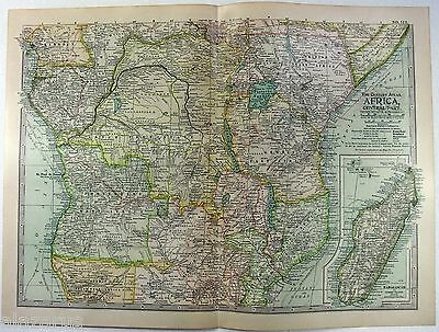 Original 1902 Map of Colonial Central Africa by The Century Company