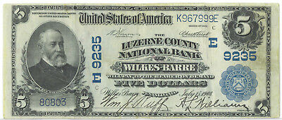 United States 1908 National Currency $5 Five Dollars Luzerne County VF+ SCARCE