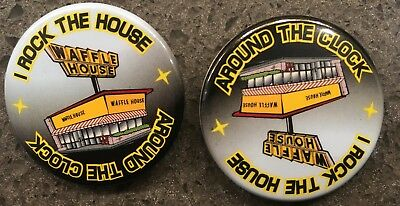NEW - 2 WAFFLE HOUSE Pins - Around The Clock - I Rock The House Pins