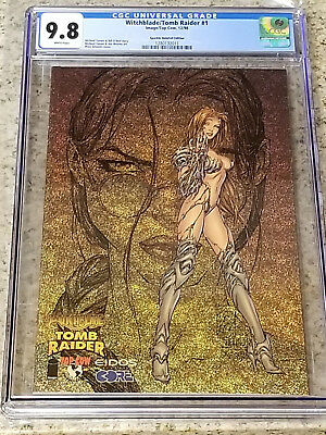 Witchblade/Tomb Raider #1 Speckle Holofoil Edition CGC 9.8 Michael Turner TopCow