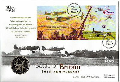 Isle of Man Battle of Britain 60th Anniversary Coin First Day Cover set