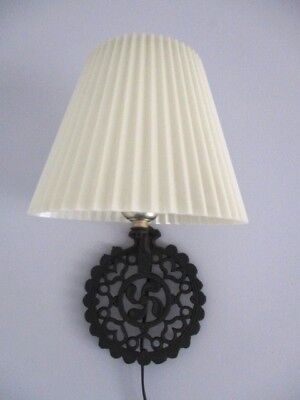 Vintage Hearts Tole Cast Iron Kitchen Trivet Pinup Lamp Light Pleated Shade