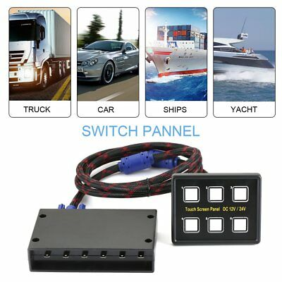 6 Gang LED Back Capacitive Touch Screen Marine Boat Caravan Switch Panel 12V AU