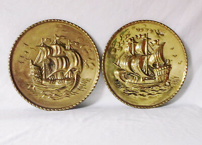 """Vintage Nautical Ship Galleon Tin Brass Copper Wall Hanging Plates 8"""" Set of 2"""