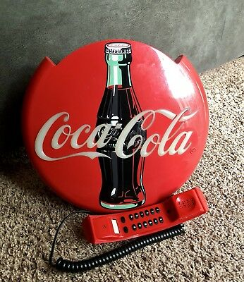 "Vintage Coca Cola Telephone Wall Hanging 1996 12"" Round"
