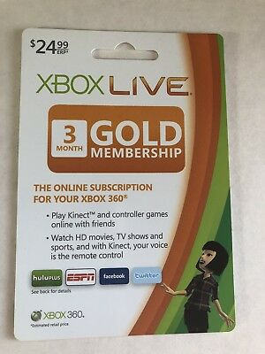 Microsoft Xbox 360/One Live 3-Month Gold Membership Free Shipping!