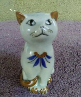 """Vintage Mexican Pottery Folk Art Cat Figurine Hand Painted 5 1/8"""""""