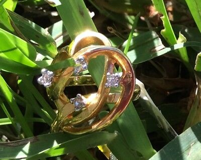 Gold electroplated costume ring pretty size 4 charged with Intent Courage