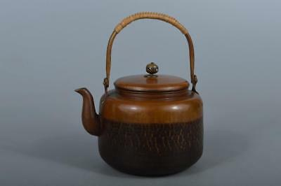 M4828: Japan Finish hammer pattern OLD COPPER BOTTLE Teapot Dobin Tea Ceremony