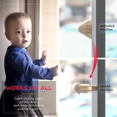 Sliding Door Locks for Baby Proofing Keyless Child Safety Patio Closet 4 Pack