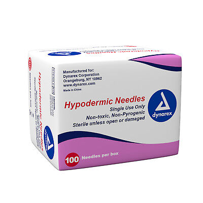 "QTY 100 ( 19g x 1"" ) Hypodermic Needles Sterile Disposable Leur Lock / Slip Tip"
