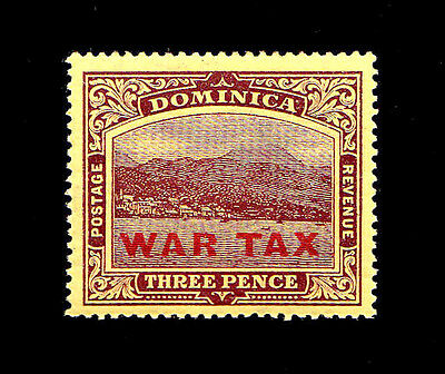 DOMINICA - Scott MR4 - 1918 3p Violet On Yellow War Tax Stamp - Mint MNH