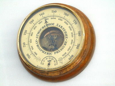 Antique Wood Brass Ships Boat Yacht Marine Weather Aneroid Barometer Thermometer