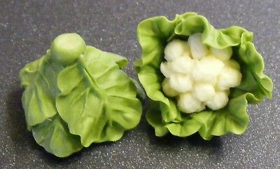 1:12 Scale 2 Untrimmed Cauliflowers Tumdee Dolls House Garden Kitchen Vegetable