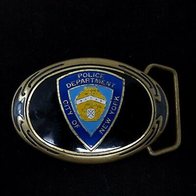 Vintage 1980s Brass Enamel NYPD Police Department City of New York Belt Buckle