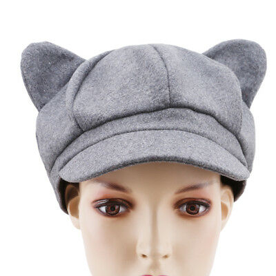 Girls Fashion Solid Plain Woolen Felt Cat Ears Beret Warm Cap Hat 8C